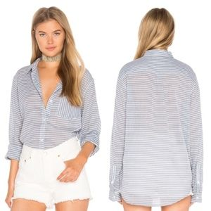 Current/Elliott Striped Chambray Boyfriend Shirt